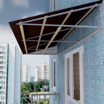 устройство козырька и крыши над балконом