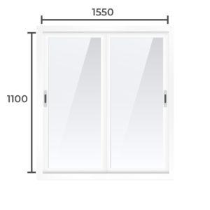 Балконная рама Алюминий  1100x1550